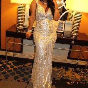 Silver Sequin Maxi Prom Dress